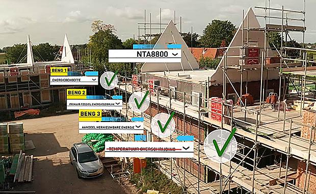 luchtfoto van huis in aanbouw