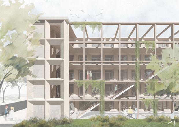 houten gebouw artist impression